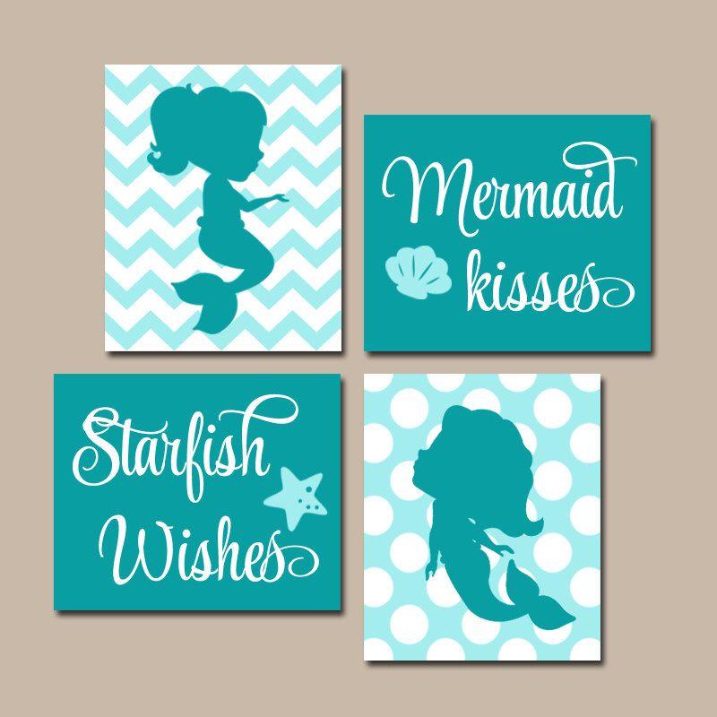 MERMAID Bathroom Decor Canvas or Prints Mermaid Bathroom Wall Art, Sister BATHROOM Bedroom Decor, Mermaid Kisses Starfish Wishes, Set of 4 images