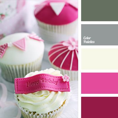 This wonderful soft palette can be used for interior decoration of a child's room or a room of a teenage girl. Deep pink in this palette is balanced by light gray and green-gray, so that it does not seem too bright. These colors can be used to decorate cakes and pastries.