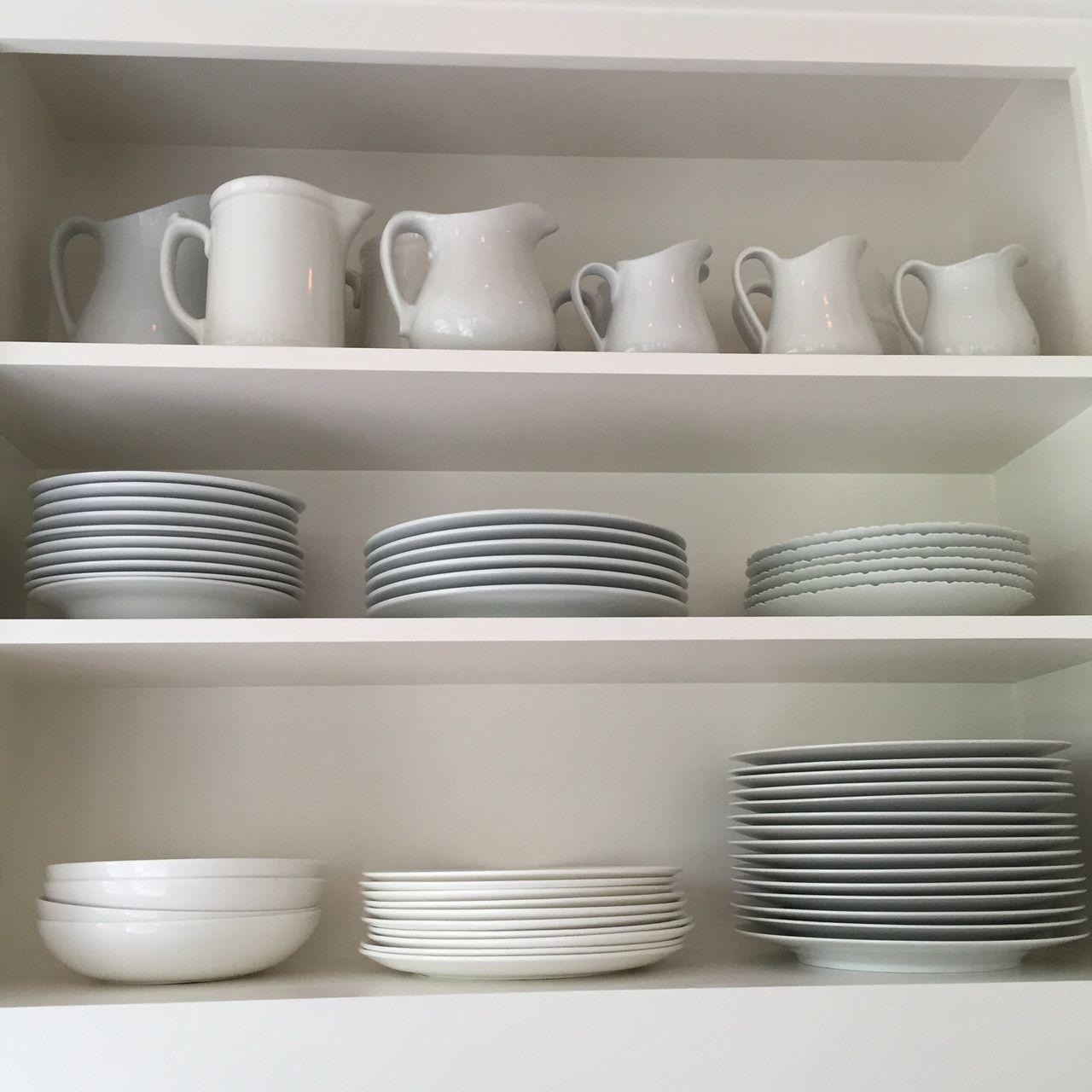 Lots Of White Tableware Makes Food