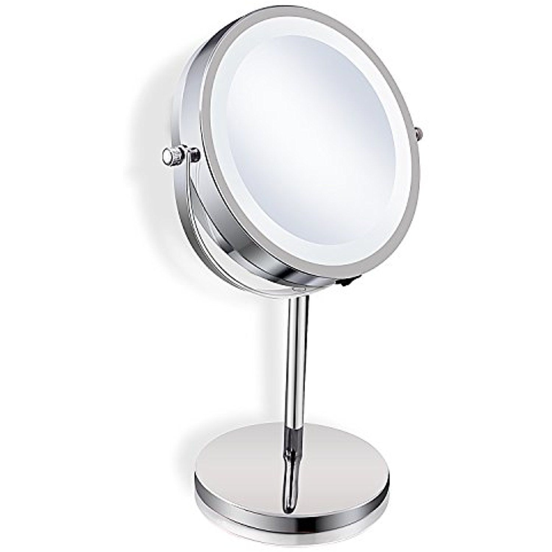 Zadro Satin Nickel Cordless Led Lighted Wall Mount Mirror 5x 1x Magnification Visit Th Wall Mounted Mirror Lighted Wall Mirror Wall Mounted Makeup Mirror