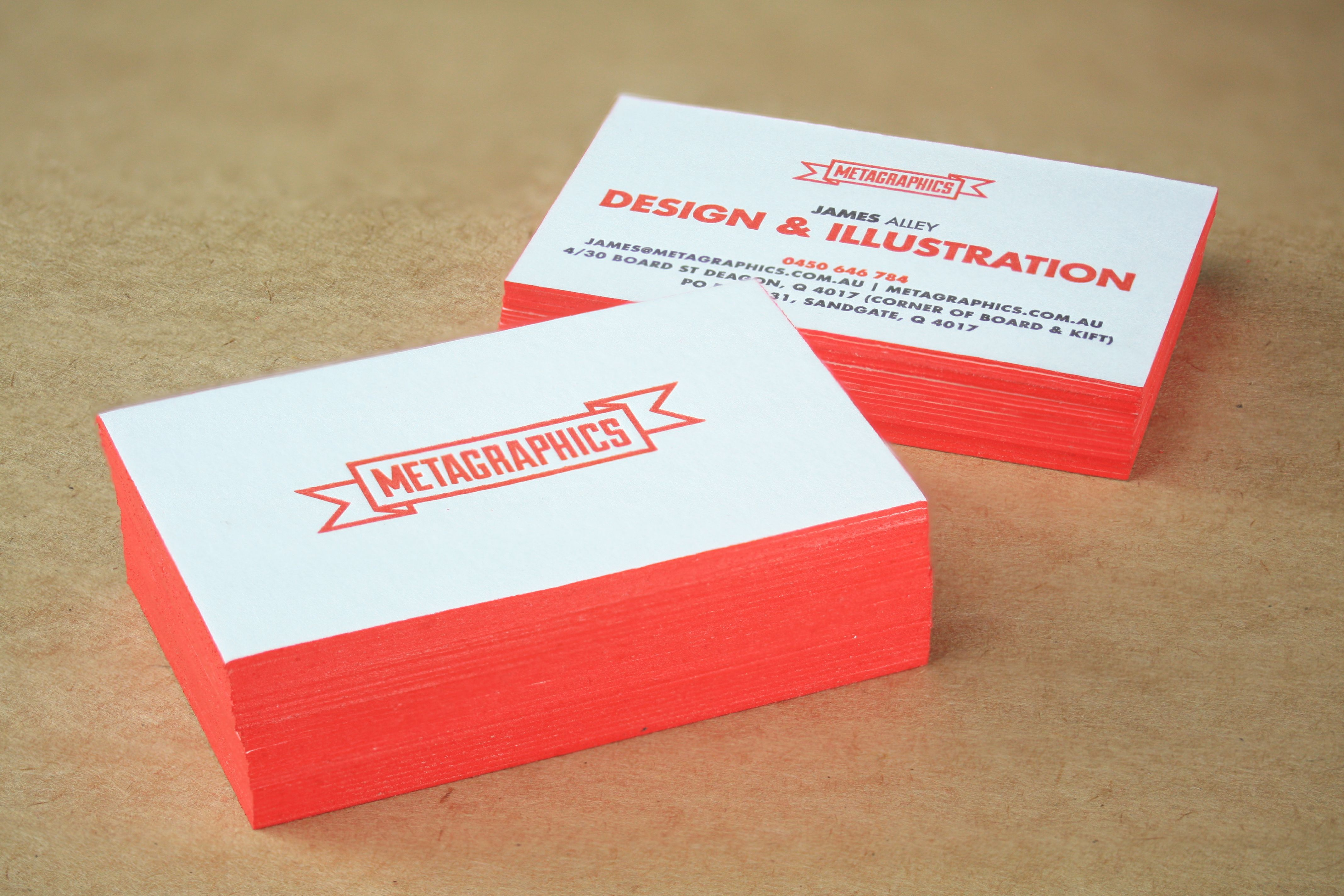 letterpress printed business cards for metagraphics with edge
