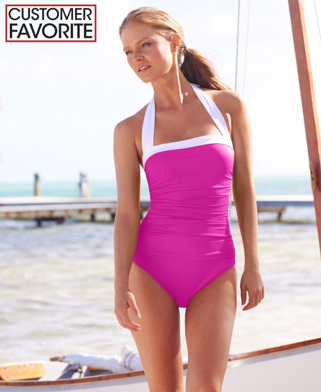 Lauren Ralph Lauren Tummy-Control Ruched Halter One-Piece Swimsuit -  Brought to you