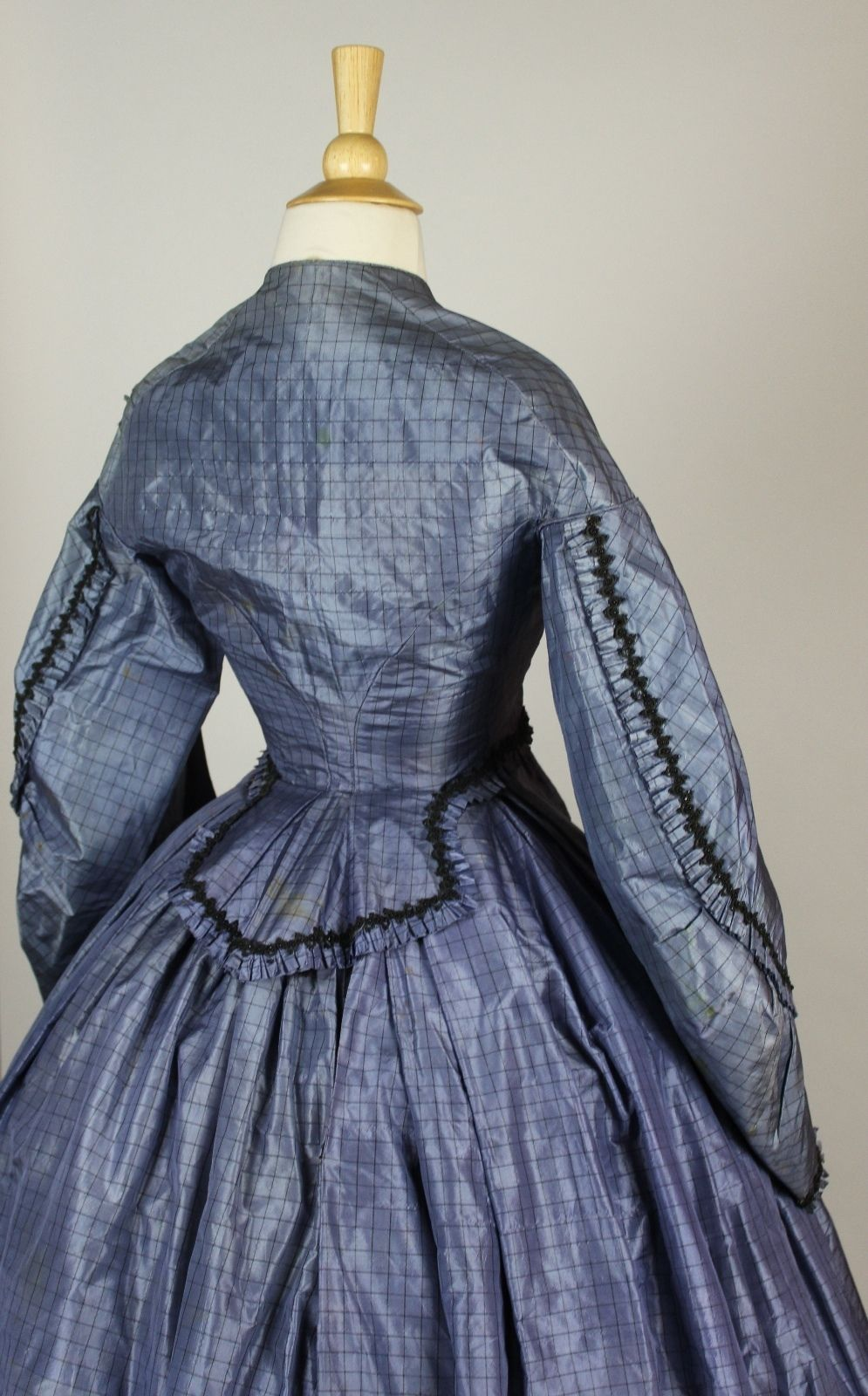Museum deaccessioned two piece periwinkle blue silk wedding gown c
