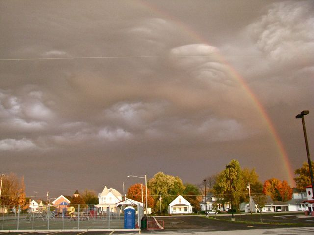 October 2011 - and amazing storminess... It doesn't show in this photo, but I actually say a double reflected rainbow - it was two double rainbows next to each other...