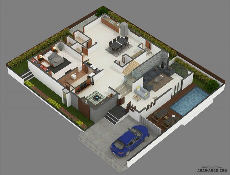 الفيلات House Styles Villa House Plans