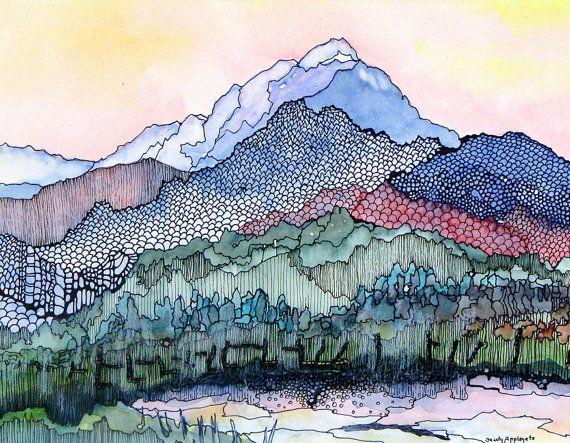 Abstracted Colorado mountain scene. Pagosa Peak 1.  A decorative CERAMIC TILE wall  art  –  8″ x 10″.  Free U.S. shipping.