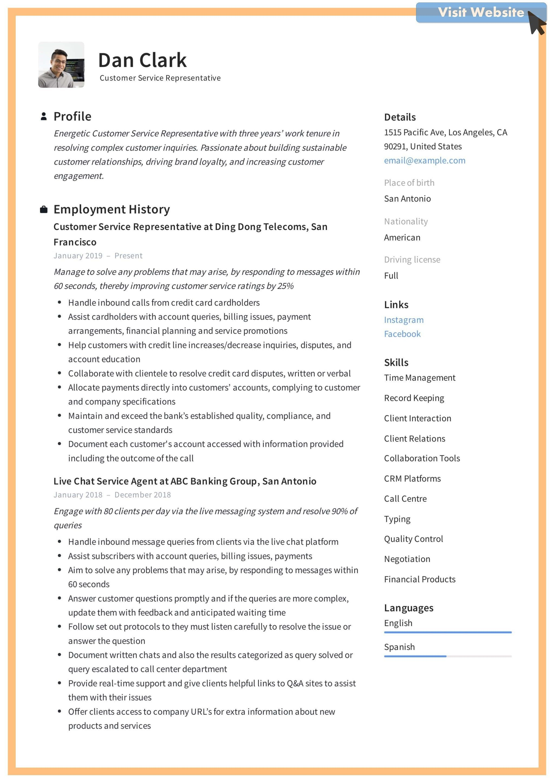 46 Example Resumes for Customer Service Representative