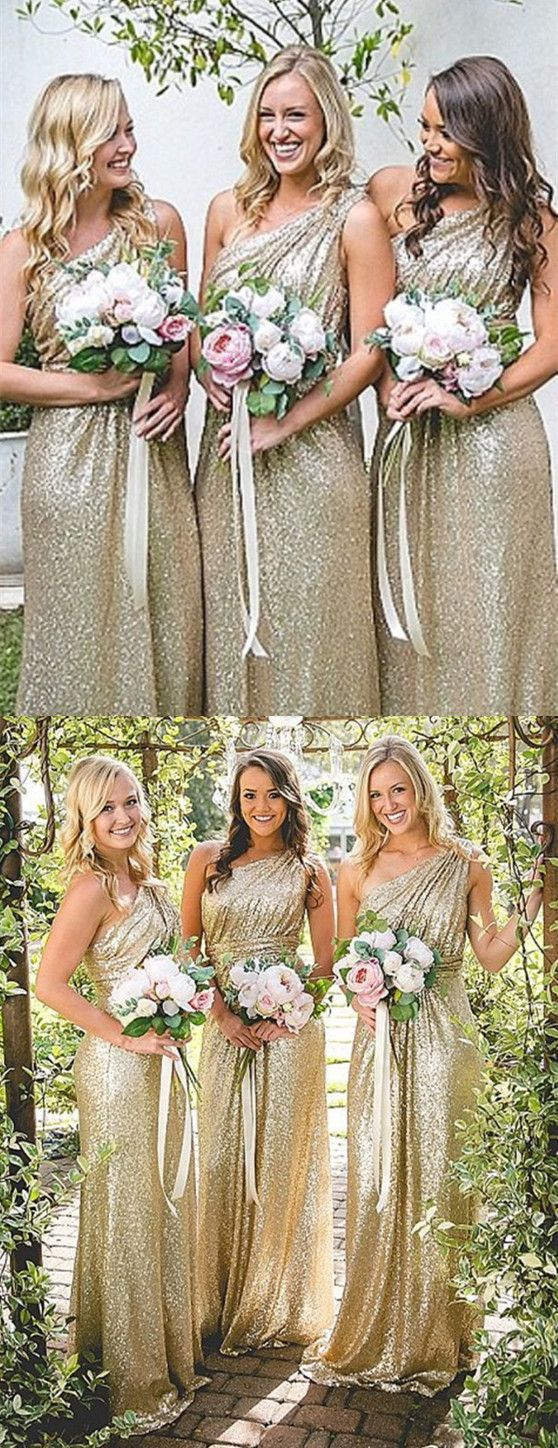 One Shoulder Bridesmaid Dresses Gold Sequins For Fall Wedding Shiny Prom Party Sparkling Long Simple
