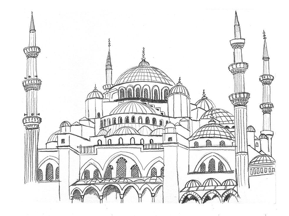 Drawing Blue Mosk By Studio Ellessi Mimari Cizim Taslaklari Resim Resimler