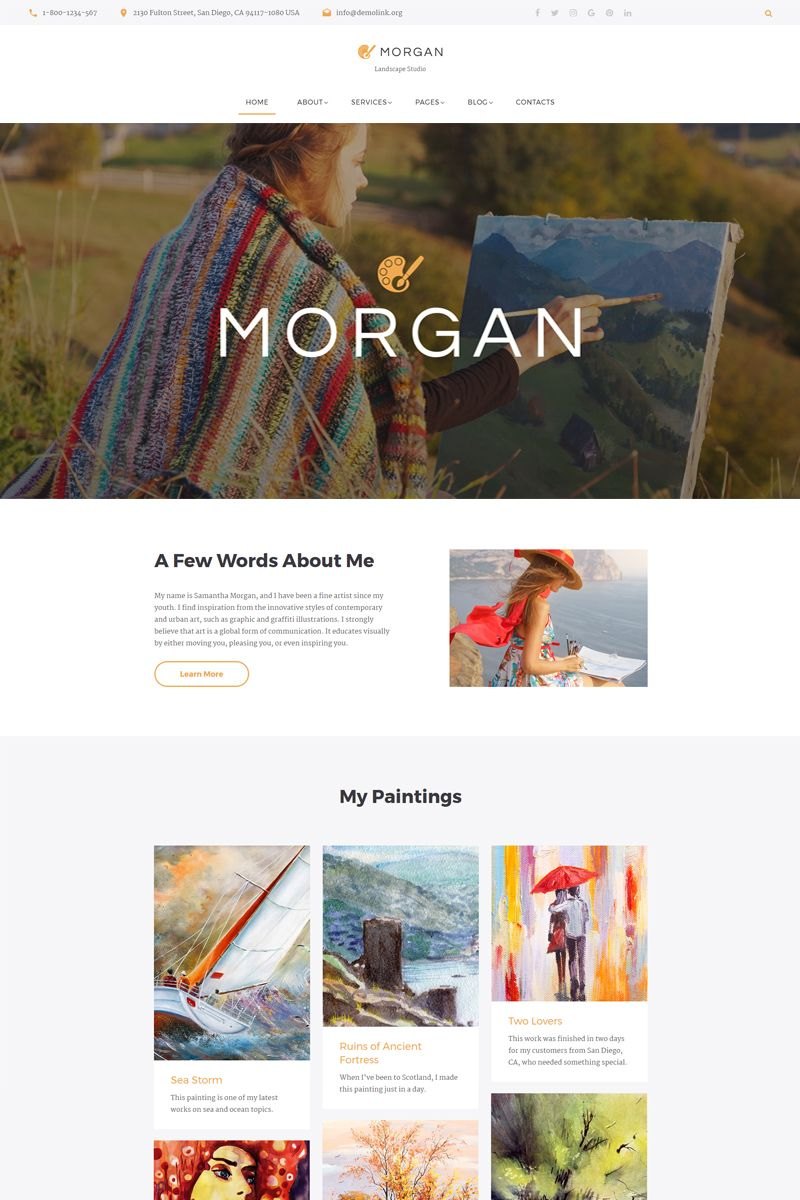 Morgan Artist Portfolio Multipage HTML Website Template - Artist portfolio website templates