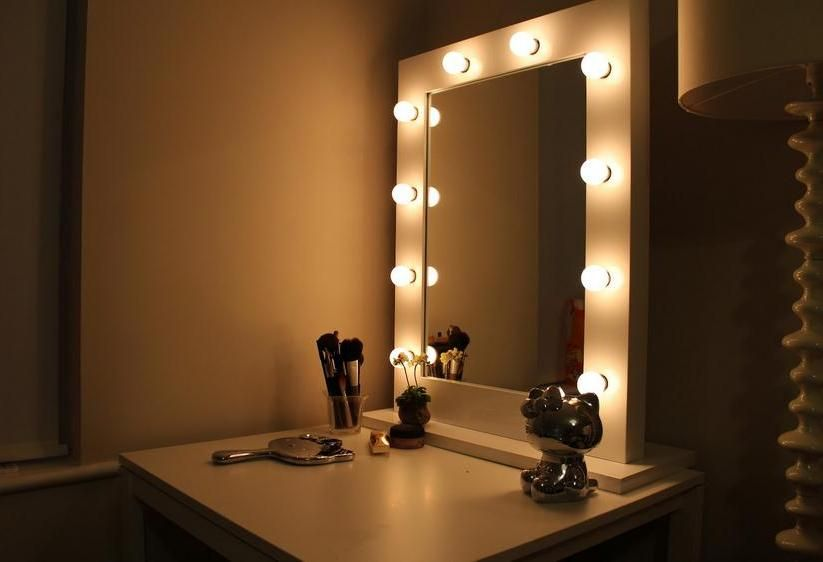 vanity mirror with lights around it in lighting home improvement ideas pinterest vanities. Black Bedroom Furniture Sets. Home Design Ideas