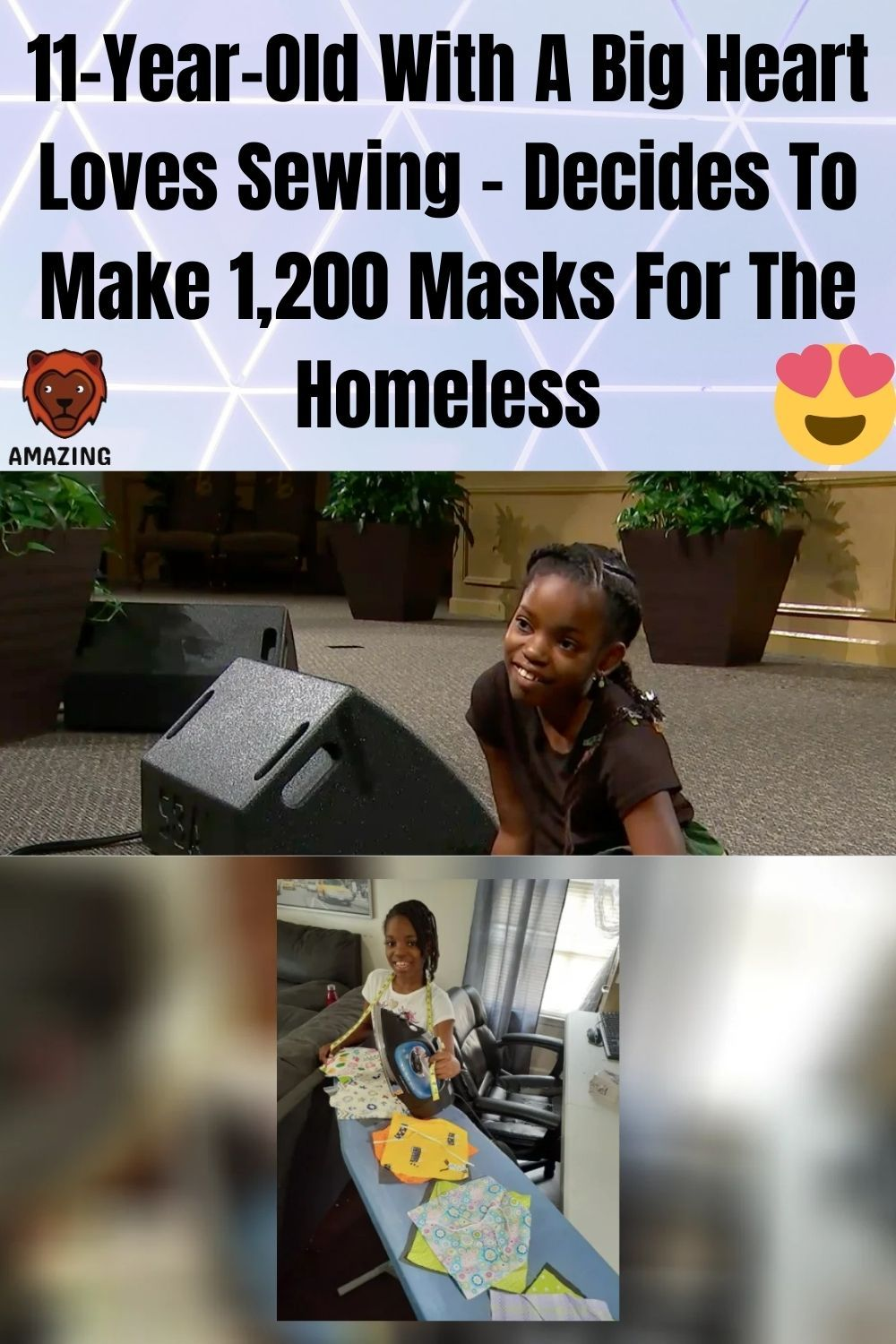 11 Year Old With A Big Heart Loves Sewing Decides To Make 1 200 Masks For The Homeless Big Heart Funny Olds