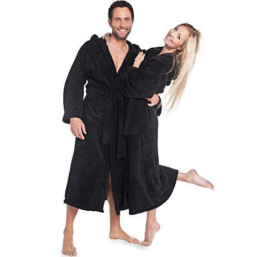 aqua textil bademantel herren damen microfaser mit kapuze malibu gr e xxl schwarz aqua textil. Black Bedroom Furniture Sets. Home Design Ideas