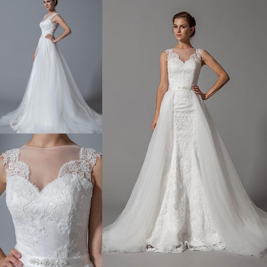 Detachable skirt mermaid cheap wedding dresses 2015 new designer detachable skirt mermaid cheap wedding dresses 2015 new designer high neck white lace tulle beads long ombrellifo Choice Image