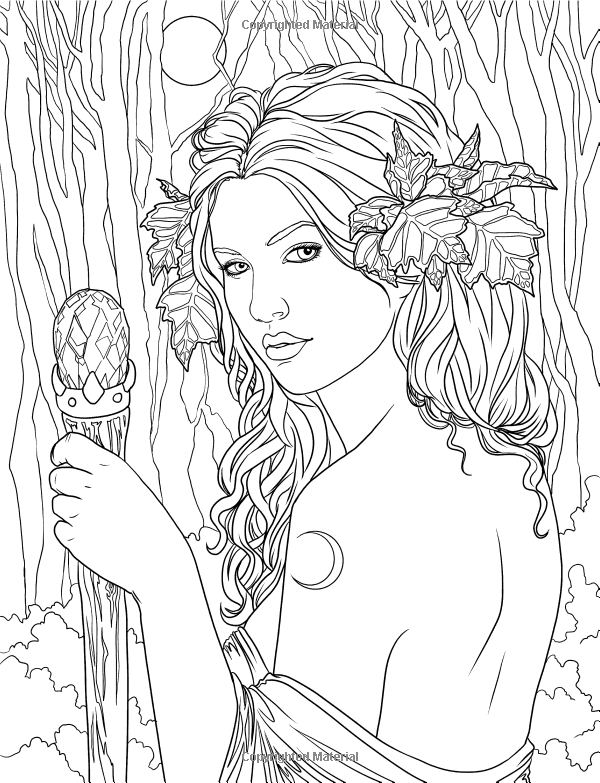 Fairy adult coloring page source for Mythical coloring pages for adults