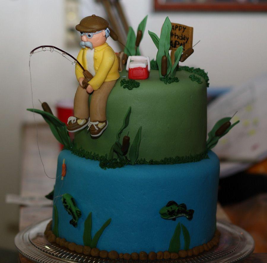 Fishing Birthday Cake I made this for my grandpas 68th birthday