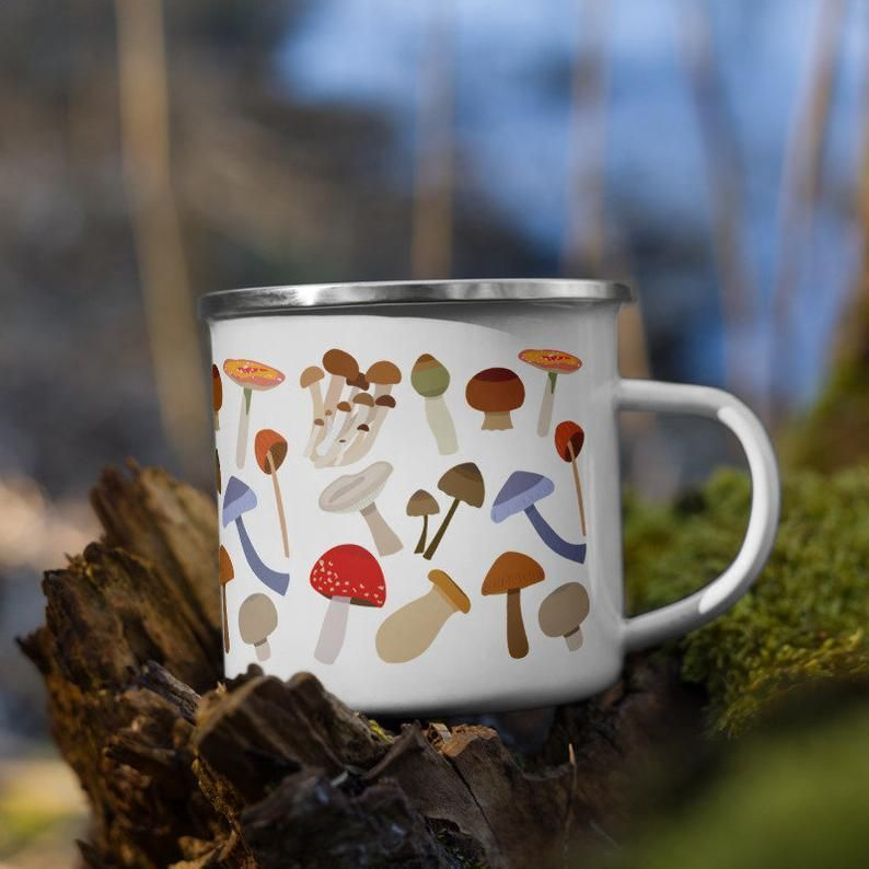 Every happy camper needs a unique camper mug. It's lightweight, durable and multifunctional. Use it for your favorite beverage or a hot meal, and attach it to your bag for easy access on a hike. • Material: Enamel • Dimensions: height 3.14″ (8 cm), diameter 3.25″(8.25 cm) • White coating with a silver rim • Hand-wash only • Blank product sourced from China Attention! Don't heat liquids or food directly in the mug—it can damage the coating.