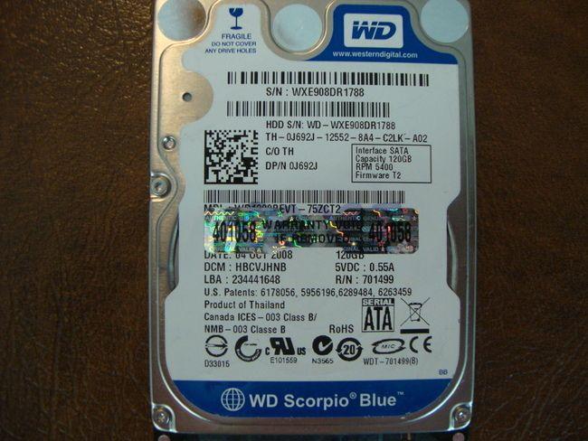 Western Digital WD1200BEVT-75ZCT2 DCM:HBCVJHNB 120gb Sata - Effective Electronics