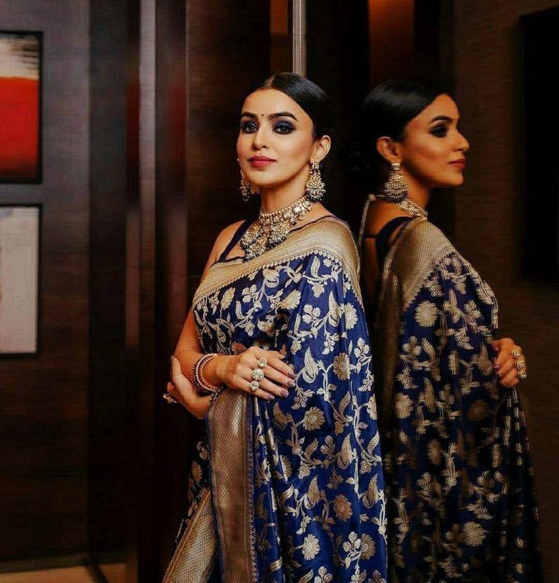 NavyBlue Color Designer Bold And Beautiful Saree I