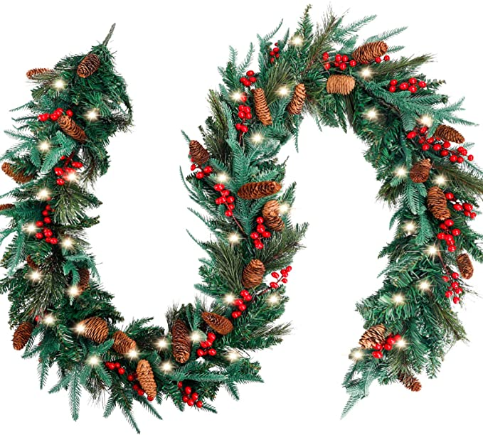 Amazon Com Funarty 9 Feet By 12 Inch Christmas Garland With 50 Warm Lights Many Types Of Green Leaves With P Christmas Garland Holiday Home Decor Red Berries