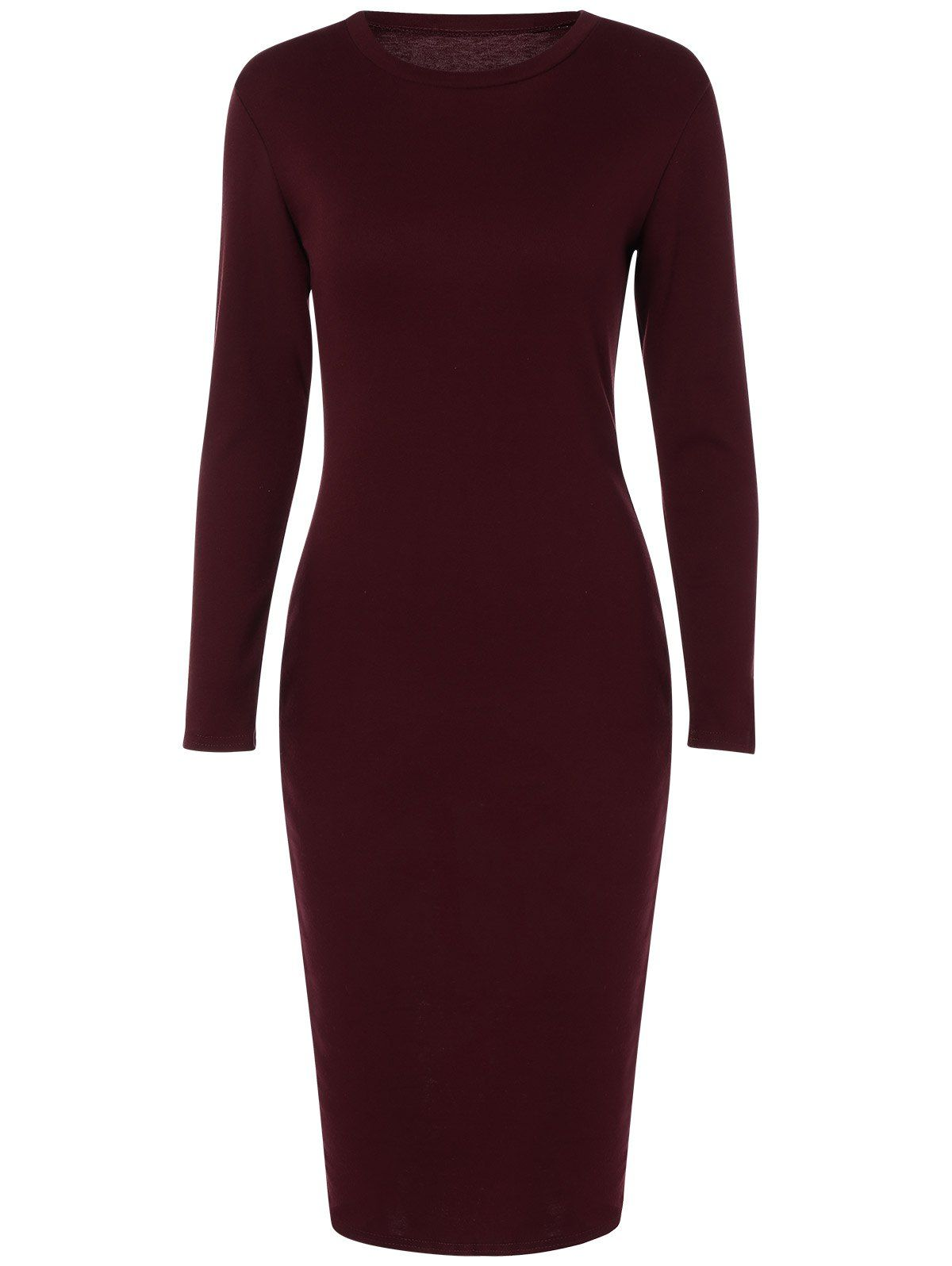Back slit tight fitted long sleeve dress all pinterest dresses