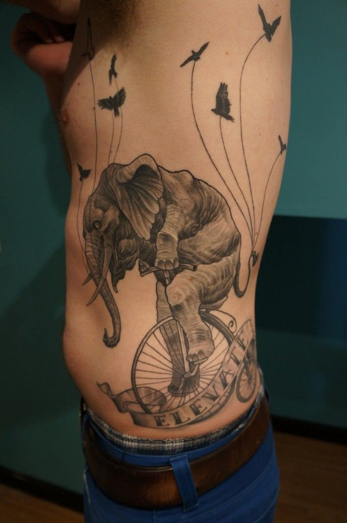 cf24461d6c6b3 Wonderful elephant on a bicycle #tattoo | Bicycle Tattoos | Elephant ...