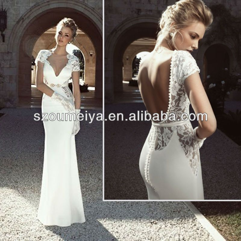 Stunning open back lace wedding dresses with sleeves Dress Low Open Backoumeiya Owd Latest Design Short
