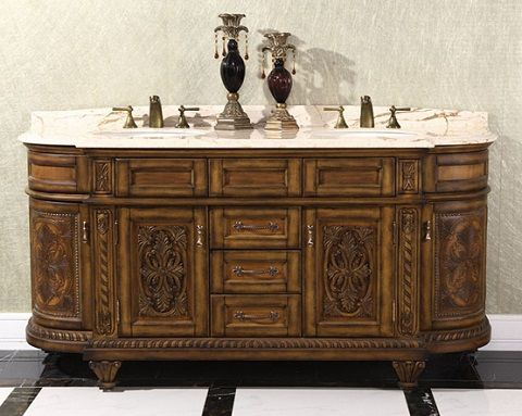 "Thailand Oak 71"" Double Bathroom Vanity WB-2871L from InFurniture"