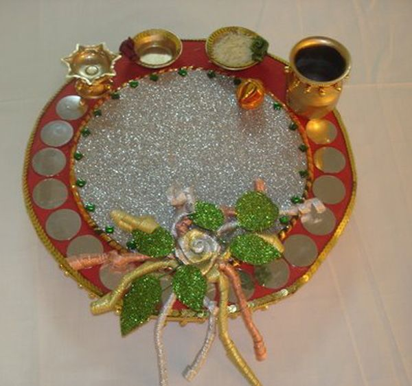 Craft works tooth pic holder thali decoration coin for Aarti thali decoration with flowers