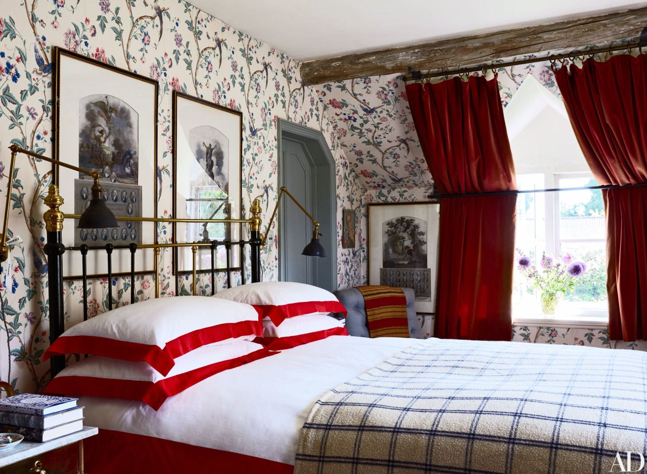Red velvet curtains in bedroom - Bedroom With Red Velvet Curtains In A Rustic English Country House