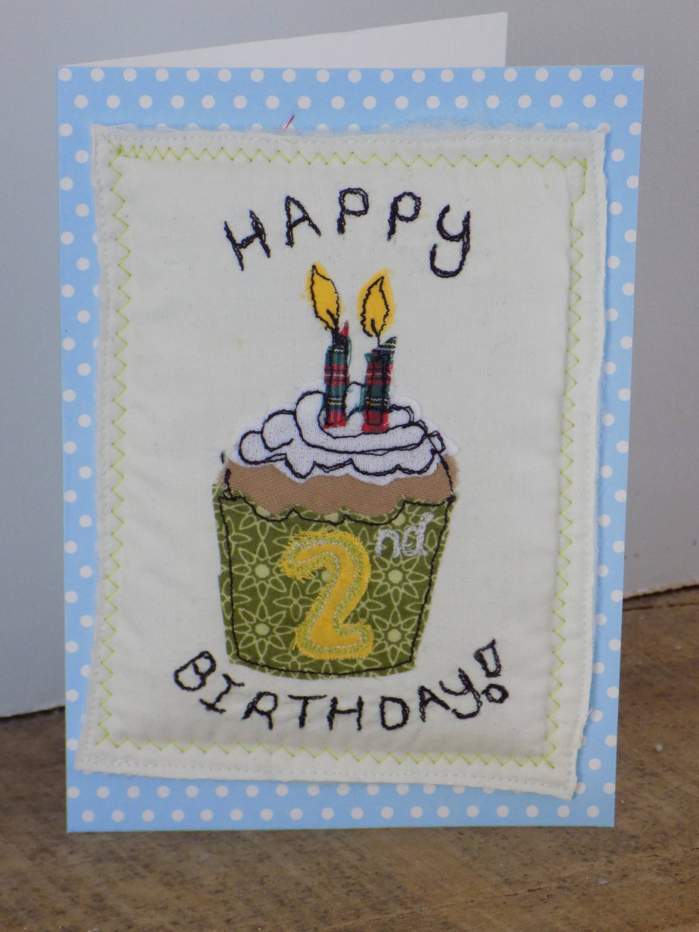2nd birthday card with embroidered birthday cake cupcakewith two 2nd birthday card with embroidered birthday cake cupcakewith two candles card suitable kristyandbryce Image collections