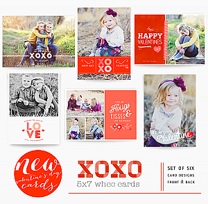 XOXO 5x7 WHCC Valentine's Day Cards templates by Oh Snap Boutique, photos by Jenny Esterbrook Photography