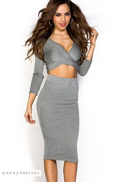 Long Sleeve Cross Front Crop Top and High Waist Skirt Grey Two ...