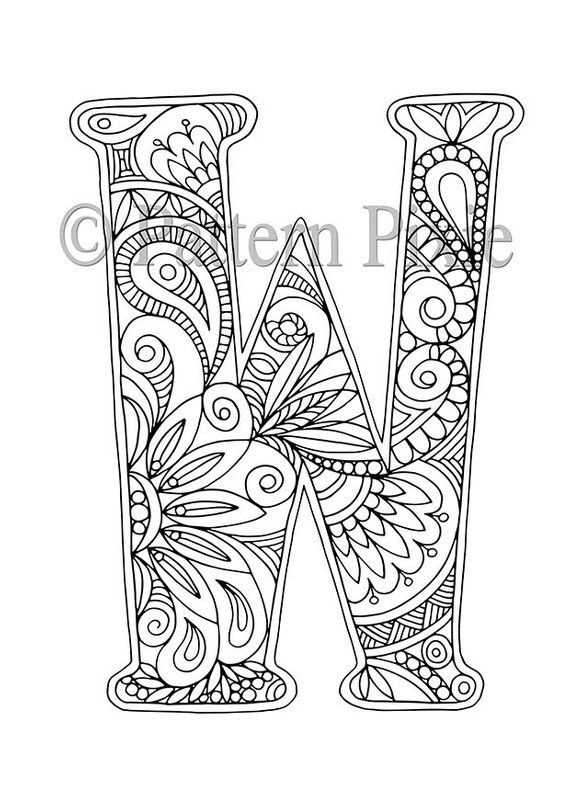 Alphabet Colouring Page For Adults Colouring Page For Digital Download Letter W Print Monogram Designer Letters Coloring Letters Lettering Alphabet Alphabet Coloring Pages
