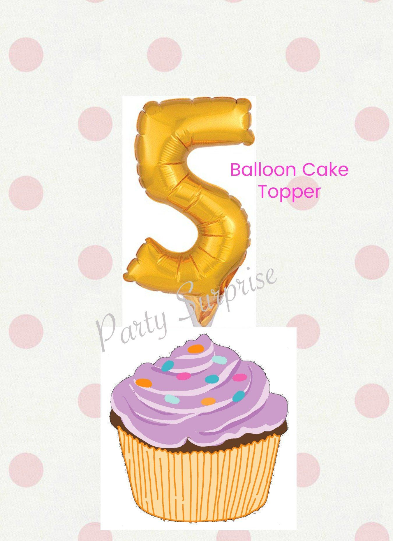 5th Birthday Balloon Cake Topper Girl Boy Cupcake Pick Number 5 Party Anniversary By PartySurprise