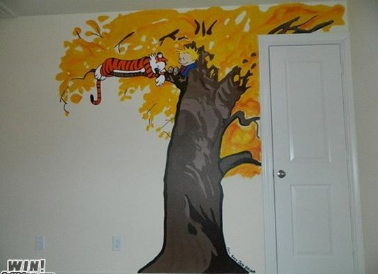 calvin hobbes mural for little boy 39 s room home. Black Bedroom Furniture Sets. Home Design Ideas
