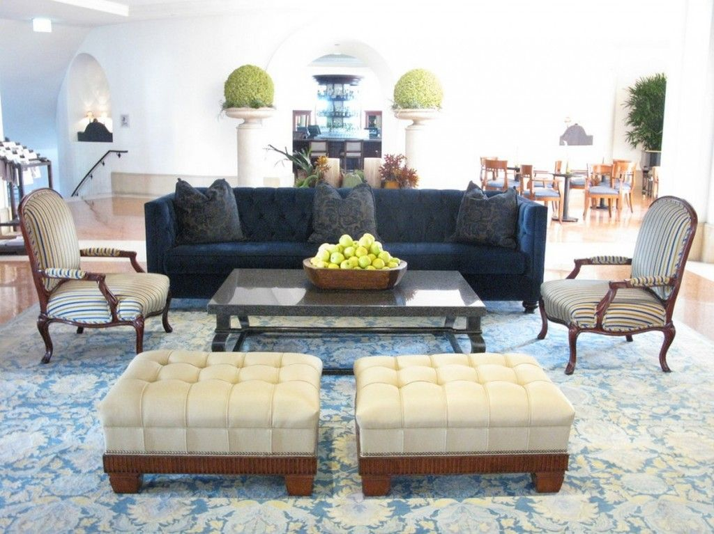 spanish colonial style of santa barbara resort lobby with classic