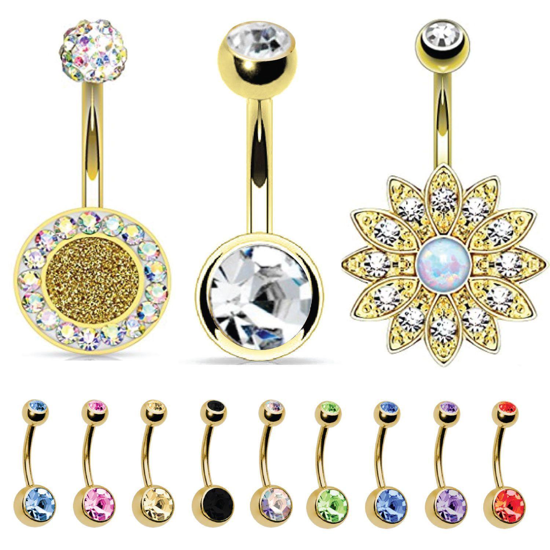 Gold belly piercing jewellery  BodyJYou Belly Button Ring Goldtone Piercing Jewelry Double Gem
