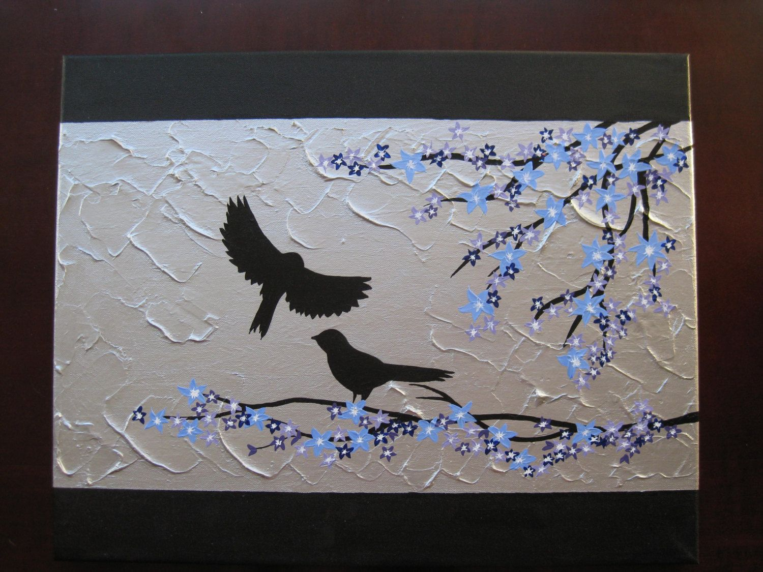 Sale textured birds painting on canvas with blue blossom wall decor sale textured birds painting on canvas with blue blossom wall decor sparrows canvases paintings bird altavistaventures Choice Image