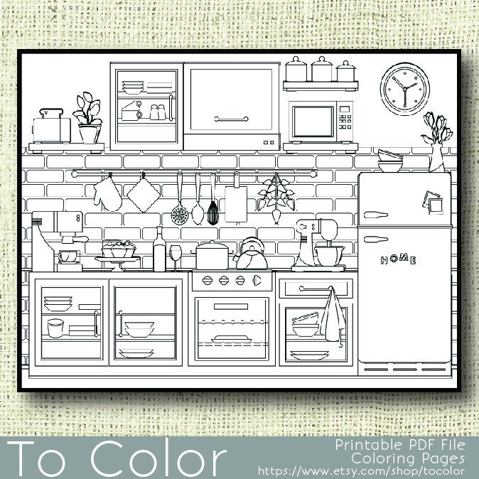 Printable Kitchen Coloring Page for Adults, PDF / JPG, Instant ...