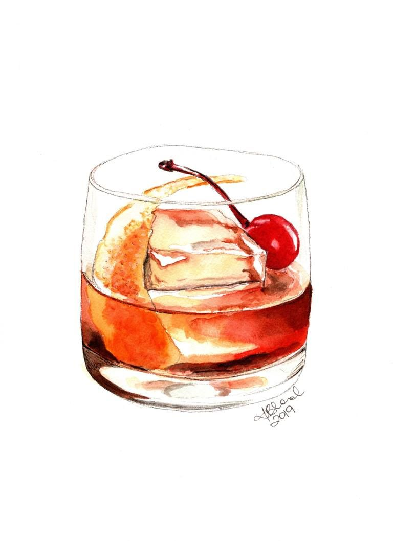 Original Food Drink Painting By Kasia Blanchard Realism Art On Paper Cocktails Old Fashi Cocktails Drawing Watercolor Paintings Easy Old Fashioned Drink
