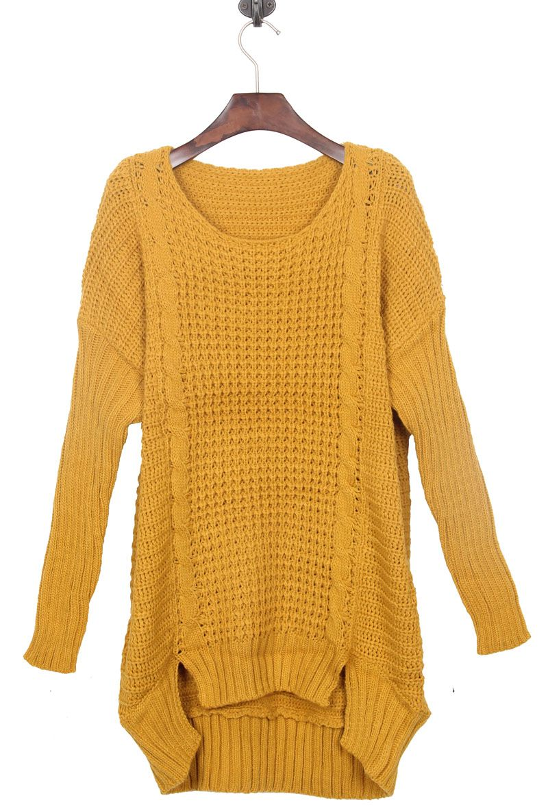 Mustard Yellow Split Side Dipped Hem Cable Sweater | Dress Me ...