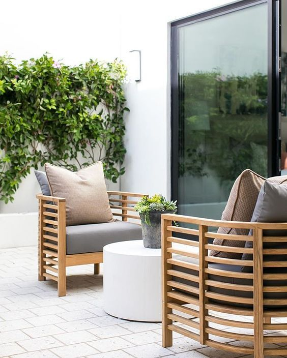 Stylish Wooden Light Colored Chairs With Grey Upholstery Will Fit Any Modern Space Modern Outdoor Furniture Diy Garden Furniture Outdoor Living