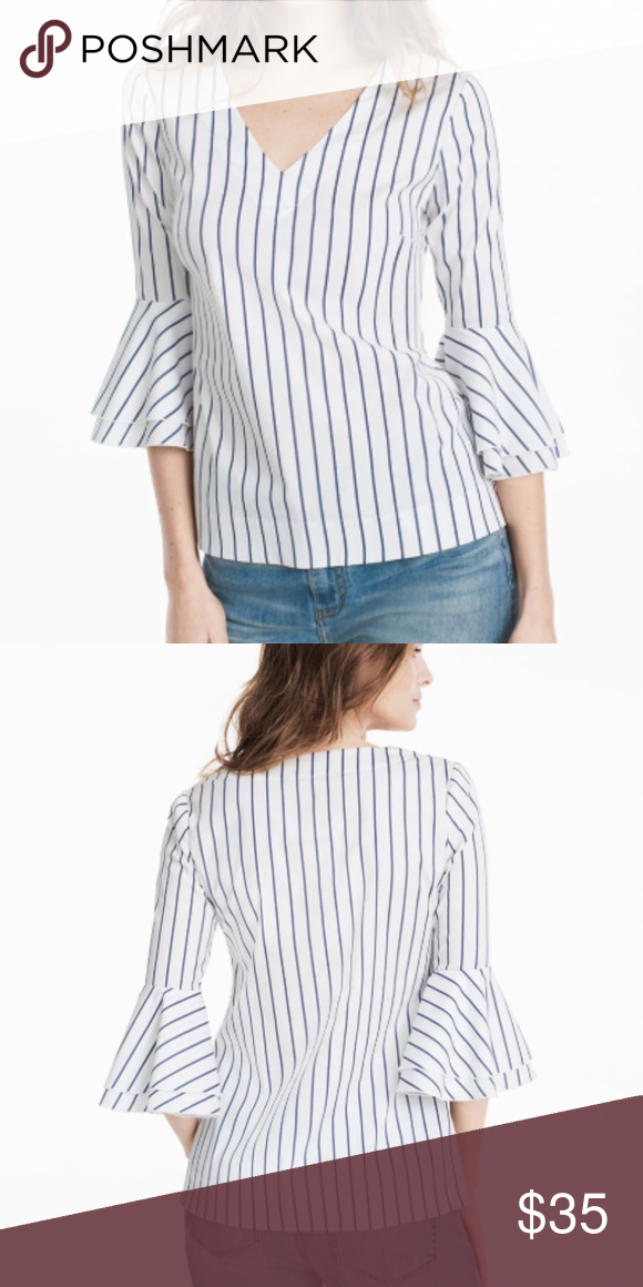 4afeef9641a White House Black Market bell sleeve striped top Great condition 19