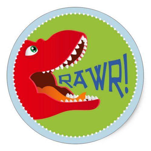 Round Dinosaur Stickers