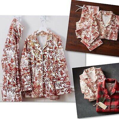 Pottery Barn 2pc Red Alpine Toile Flannel Pajamas Sz Xs