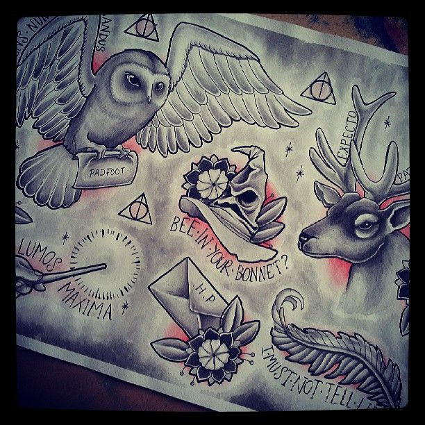 Harry Potter tattoo flash. was just thinking someone needs to do this!