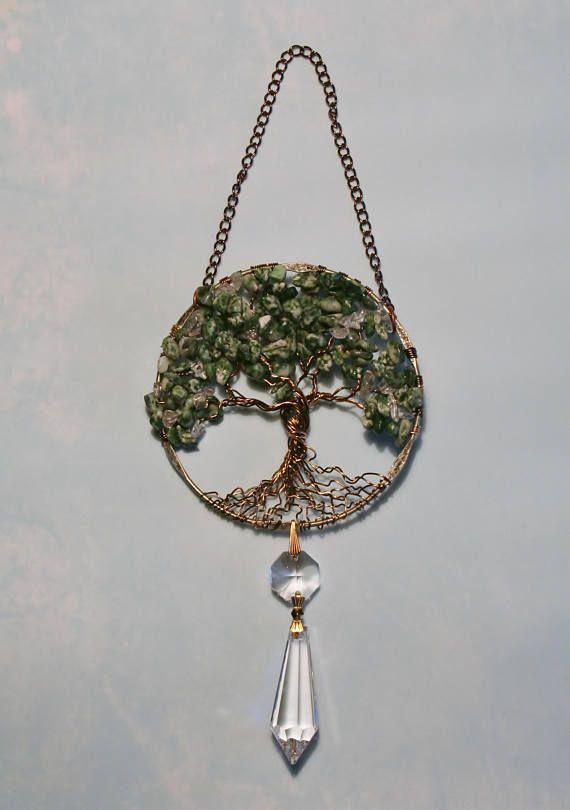 Sun Catcher Moss Agate Tree Tree of Life Gemstone Clear