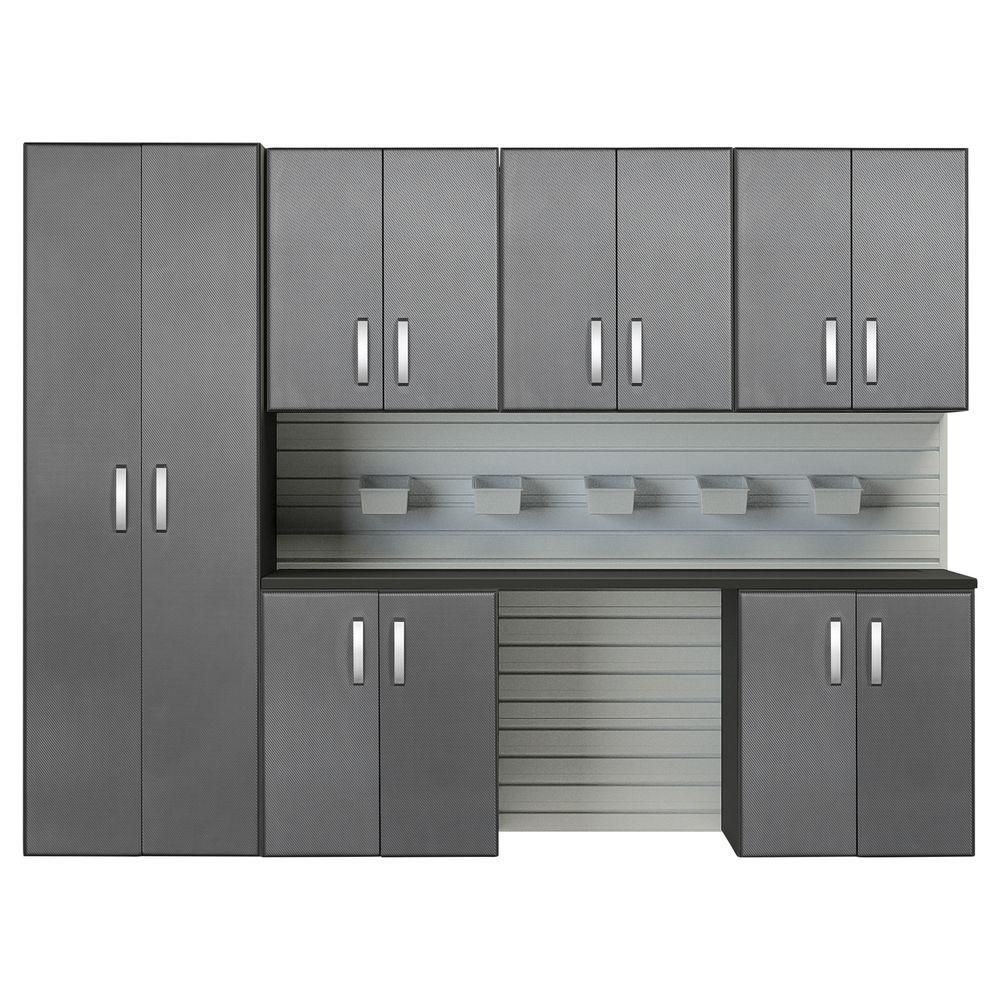 Flow Wall Modular Wall Mounted Garage Cabinet Storage Set With Accessories In White Graphite Carbon Fiber 7 Piece Fcs 9612 6w 7sc The Home Depot Garage Storage Cabinets Garage Cabinets Modular Walls