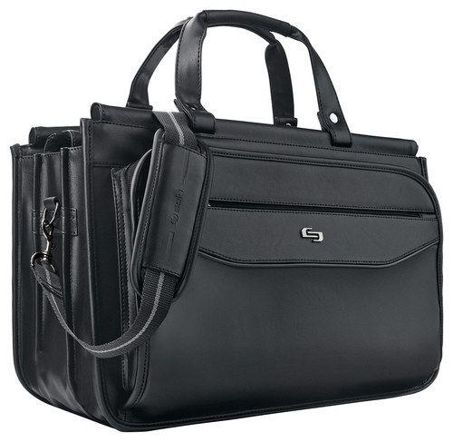 Solo - Classic Triple-Compartment Laptop Briefcase - Black